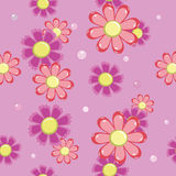 Seamless background of pink and red flowers Royalty Free Stock Photo