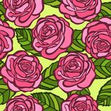 Seamless background. Pink roses with green leaves in the old style Stock Photos