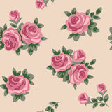 Seamless background with pink roses in retro style Stock Photo