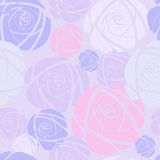 Seamless background with pink  roses. Vector illustration Stock Photography