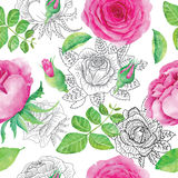 Seamless background with pink roses Royalty Free Stock Photos