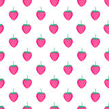 Seamless background with pink strawberries. Cute vector strawberry pattern. Summer fruit illustration. Summer fruit illustration on white background. Cute Stock Photography
