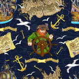 Seamless background with pirate captain looking for treasures Royalty Free Stock Images