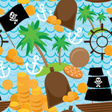 Seamless background pirate island colorful kids retro pattern.  Royalty Free Stock Photography