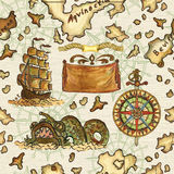 Seamless background with pirate map of treasure island. Seamless nautical background with pirate map of treasure island, sailing ship, wind rose and fantasy fish Royalty Free Stock Image