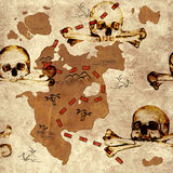 Seamless background with pirate map. A way to treasure Royalty Free Stock Photo