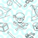 Seamless background with pirate theme elements Stock Photography