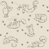 Seamless background with playful cats Royalty Free Stock Images