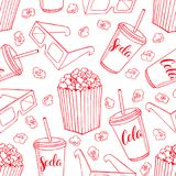 Seamless background of popcorn. Cute seamless background of popcorn, soda and 3d glasses. hand-drawn illustration Royalty Free Stock Photos