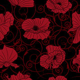 Seamless background with poppies Royalty Free Stock Photo