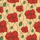 Seamless background of poppies. Vector seamless background of poppies Royalty Free Stock Images