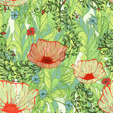Seamless background with poppy flowers. Seamless green spring floral background with hand drawn poppy flowers field. Eps10 Royalty Free Stock Photo