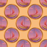 Seamless background, portholes and ships Stock Image