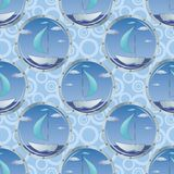Seamless background, portholes and ships Stock Photo