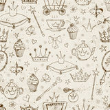 Seamless background with princess accessories. Royalty Free Stock Photo