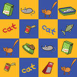Seamless background of products for cats. Vector illustration. Royalty Free Stock Images
