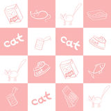 Seamless background of products for cats. Vector illustration. Royalty Free Stock Image