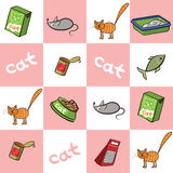 Seamless background of products for cats. Vector illustration. Stock Images
