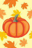 Seamless background with pumpkin and maple leaves. Illustration Royalty Free Stock Photo