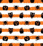 Seamless Background with Pumpkin, Spider, Pot, Owl Royalty Free Stock Photo