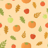 Seamless background with pumpkins and leaves stock illustration