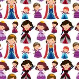 Seamless background with queens and princesses Stock Images