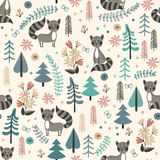 Seamless background with raccoons in forest. Seamless pattern for children with cute raccoon in forest. Vector illustration in cartoon style Stock Photo