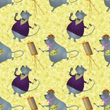 Seamless background, rats artist and singer. Seamless background, cartoon rats artist and singer on a floral background with stars Royalty Free Stock Photography