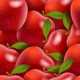 Seamless background with red apples and leaves. Illustration Stock Images