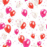 Seamless background with red balloons. And confetti on white background, illustration Royalty Free Stock Image