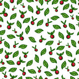 Seamless background with red berries and green Royalty Free Stock Photography