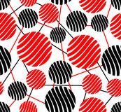 Seamless background with red and black circles. On the white area Stock Images