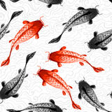 Seamless background with red and black koi carps Stock Photography