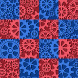 Seamless background of red and blue color gear wheels. Vector illustration. Stock Photo