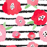 Seamless background with red flowers and strips. Stock Photo