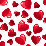 Seamless background with red hearts. Vector Illustration of seamless background with red hearts on a white background Stock Photography