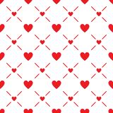 Seamless background with red hearts. Vector illustration isolated on white background stock illustration