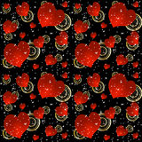 Seamless background with red hearts and stars. Seamless pattern with red hearts and stars on a black background Stock Photography