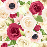 Seamless background with red, pink and white flowers. Vector illustration. Stock Image