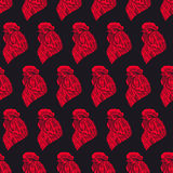 Seamless background of red roosters. Beautiful seamless background of a symbol of 2017 - a red roosters. hand-drawn illustration Royalty Free Stock Images