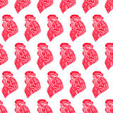 Seamless background of red roosters. Beautiful seamless background of a symbol of 2017 - a red roosters. hand-drawn illustration Stock Images