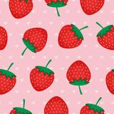 Seamless background with red strawberries.. Vector strawberry pattern on pink background with hearts. Design for wallpapers, web pages, textures, textile Stock Image