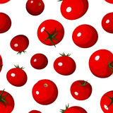 Seamless background with red tomatoes on white. Royalty Free Stock Image