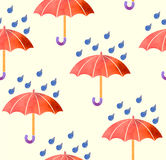 Seamless background with red umbrellas watercolor. Royalty Free Stock Photo