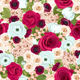 Seamless background with red, white and blue flowers. Vector illustration. Vector seamless background with red, white and blue roses, lisianthuses, ranunculus Stock Image