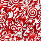 Seamless background with red and white candies Royalty Free Stock Photo