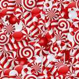 Seamless background with red and white candies Stock Photo