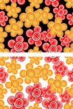Seamless background with red and yellow flowers Stock Image