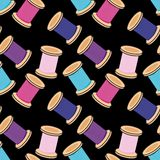 Seamless background with reels of thread Royalty Free Stock Images