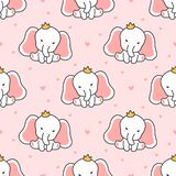 Cute elephant Seamless Pattern Background stock illustration